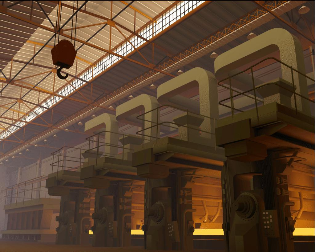 Early complex radiosity image of steel factory