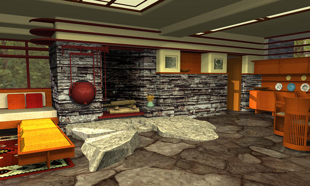 Fallingwater fireplace render