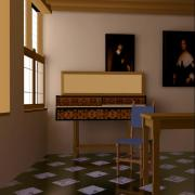 Vermeer studio with two-pass rendering
