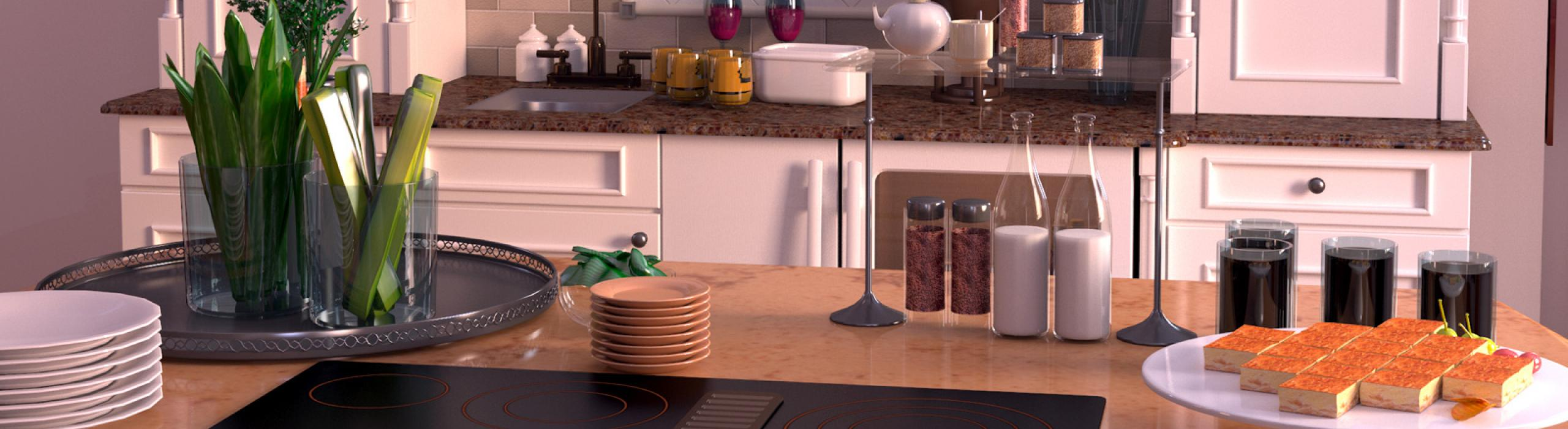 3d Rendered Kitchen Scene